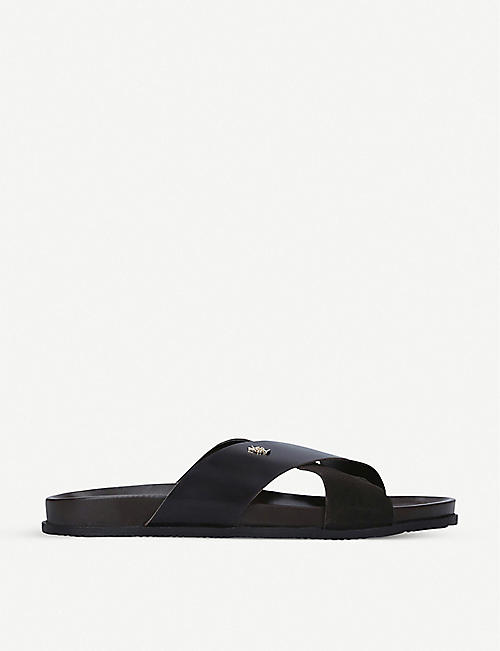 KURT GEIGER LONDON: Logan cross-strap leather sandals
