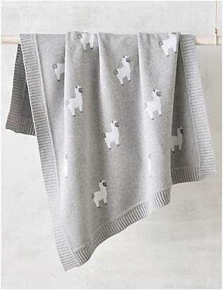 THE LITTLE WHITE COMPANY: Llama-embellished cotton baby blanket 75cm x 100cm