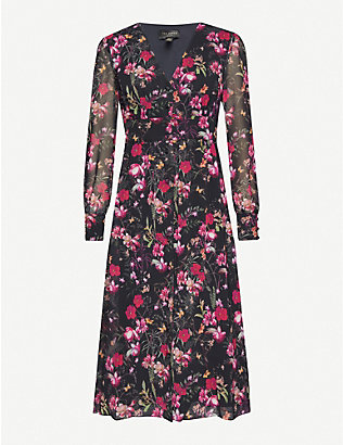 TED BAKER: Adriela Fern Forest deep V midi dress