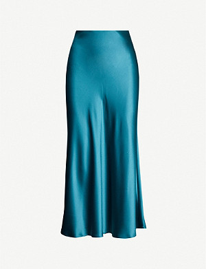 GALVAN Valletta high-waisted satin midi skirt