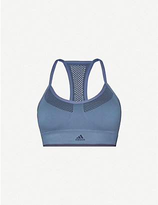 ADIDAS PERFORMANCE: Striped stretch-jersey sports bra