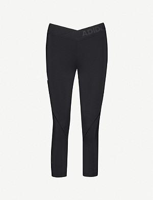 ADIDAS PERFORMANCE Logo-trimmed stretch-jersey leggings