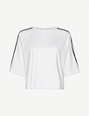 ADIDAS PERFORMANCE Velvet-striped cotton-jersey T-shirt