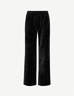 ADIDAS PERFORMANCE Wide-leg velour jogging bottoms