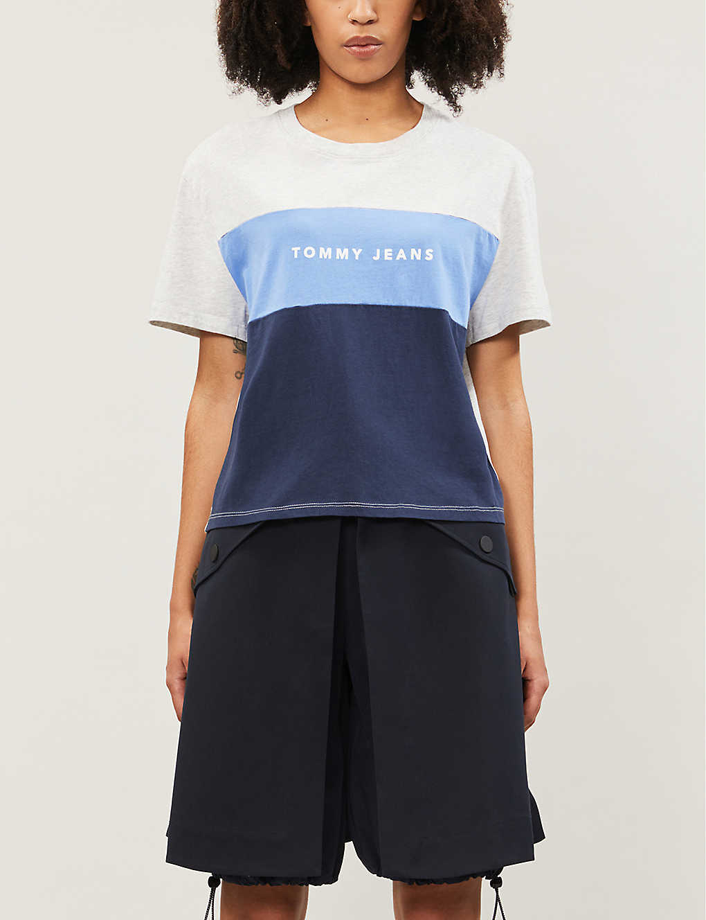 Tommy Jeans Logo Print Striped Cotton Jersey T Shirt Selfridges Com