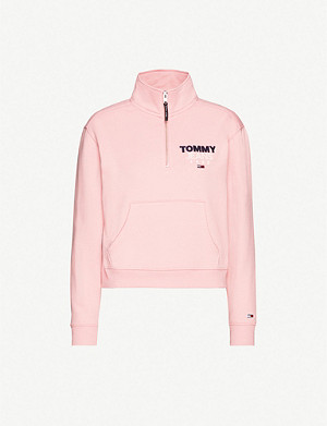 TOMMY JEANS Logo-print cotton-blend zip-neck jumper