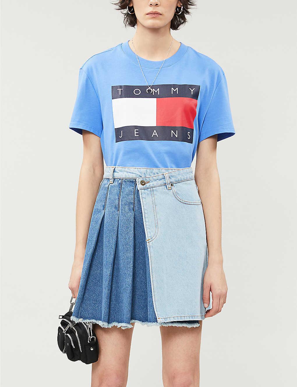 Tommy Jeans Logo Print Cotton Jersey T Shirt Selfridges Com
