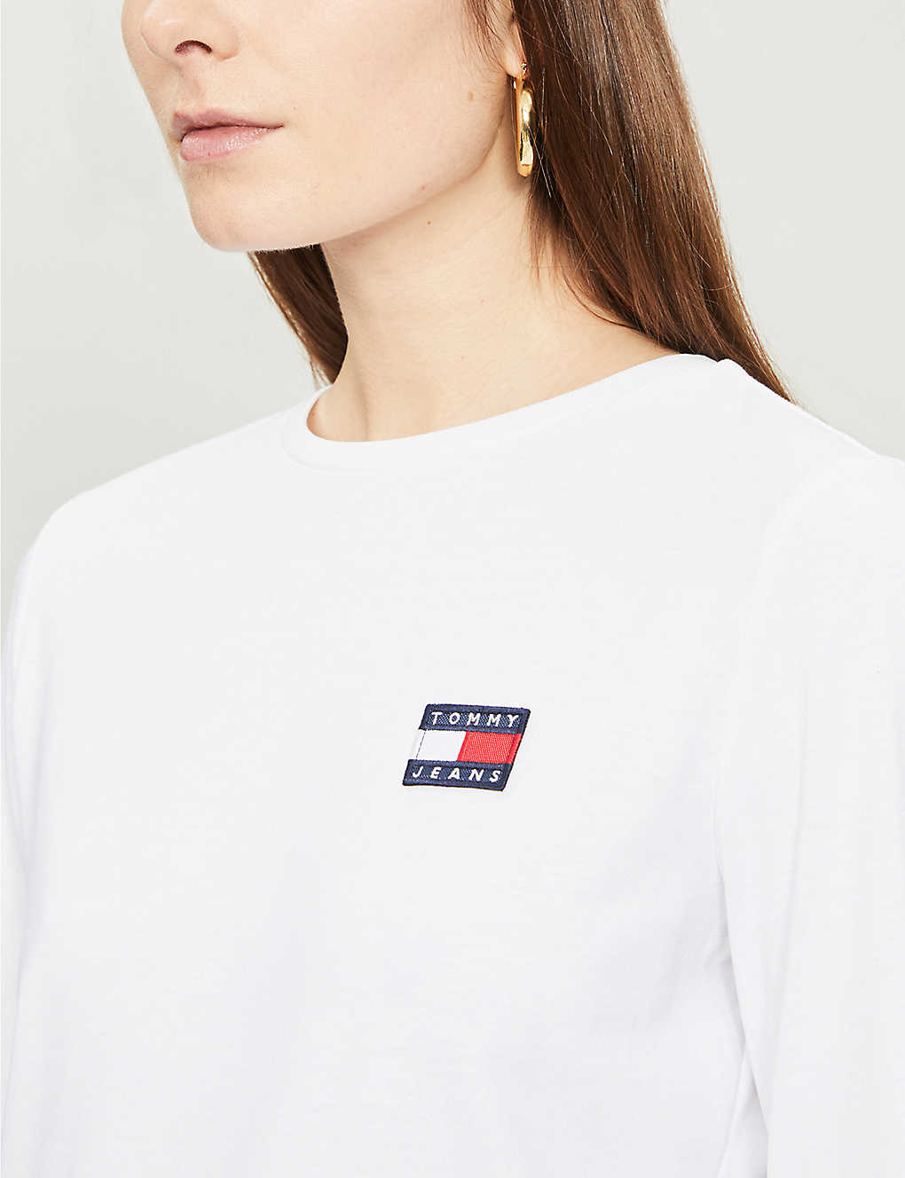 Tommy Jeans Logo Embroidered Cotton Jersey Top Selfridges Com
