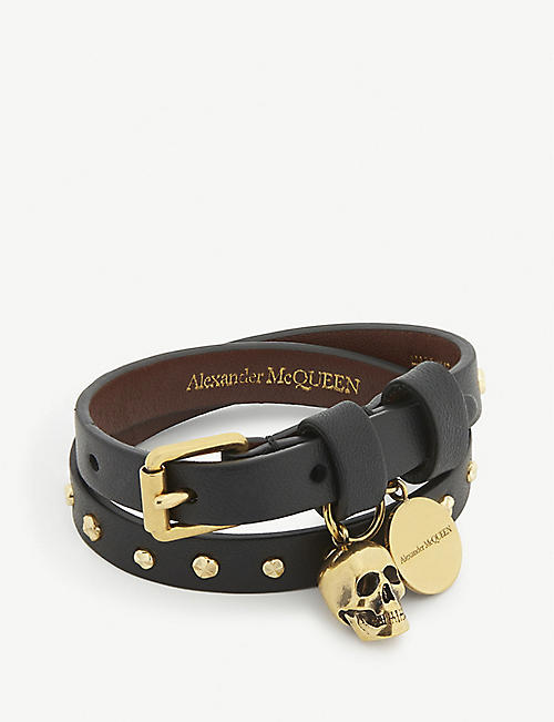 ALEXANDER MCQUEEN: Leather and brass skull wrap bracelet