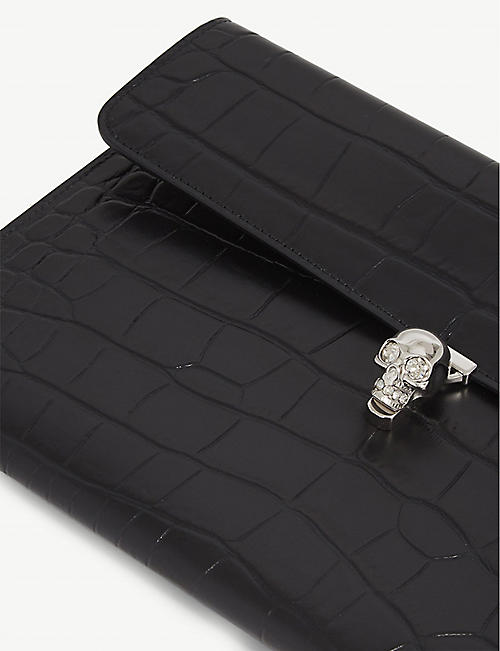 ALEXANDER MCQUEEN Skull-detail crocodile-embossed leather clutch