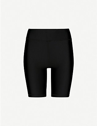 THE UPSIDE: High-rise stretch-jersey shorts