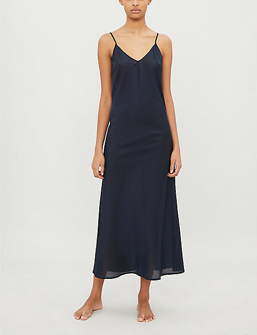 POUR LES FEMMES Flared-hem cotton-and-silk blend night dress