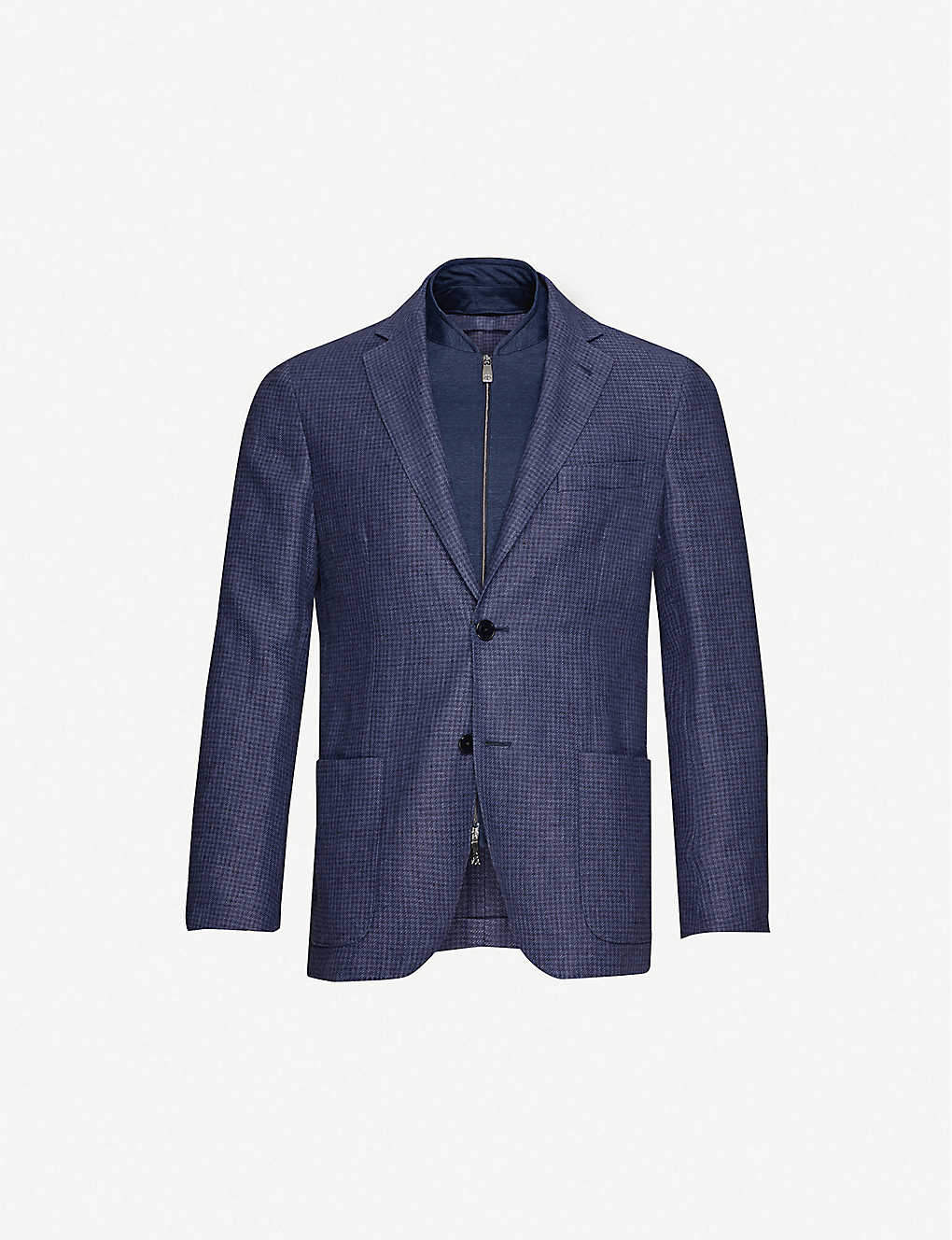 CORNELIANI: Houndstooth-pattern detachable-panel linen and cotton-blend jacket