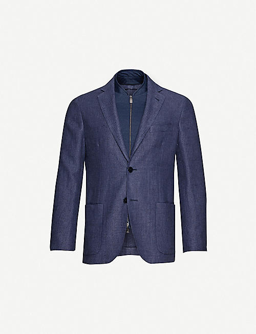 CORNELIANI Houndstooth-pattern detachable-panel linen and cotton-blend jacket