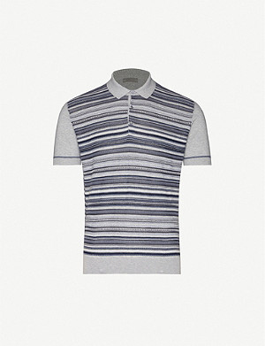 CORNELIANI Striped slim-fit cotton-knit polo shirt