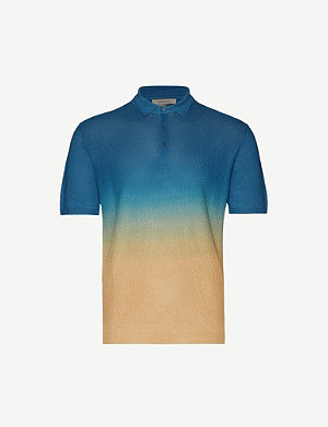 CORNELIANI Dégradé slim-fit linen-knot polo shirt