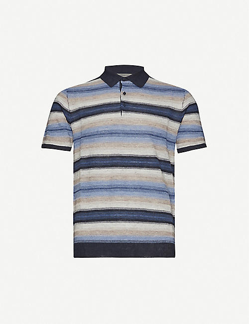 CORNELIANI: Striped linen and silk-blend polo shirt