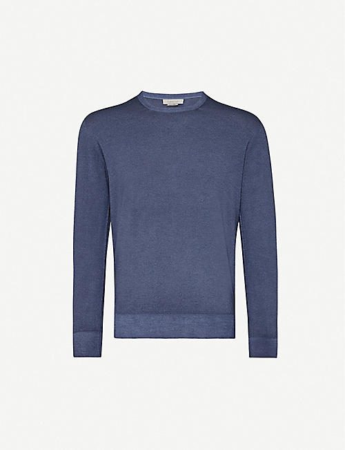 CORNELIANI Fitted crewneck wool jumper