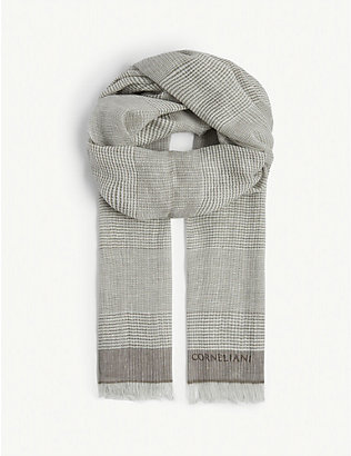 CORNELIANI: Check print linen and cotton scarf