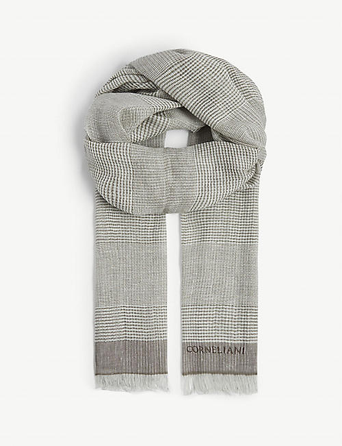 CORNELIANI Check print linen and cotton scarf