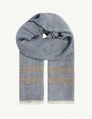 CORNELIANI: Herringbone stripe silk and linen scarf