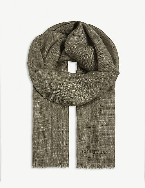 CORNELIANI Fray-trimmed linen and cotton scarf
