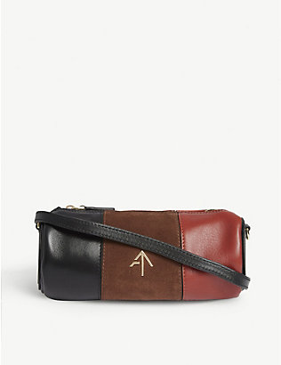 MANU ATELIER: Mini Cylinder leather and suede shoulder bag