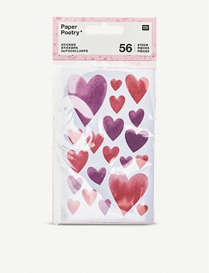 VALENTINES Heart stickers set of 56