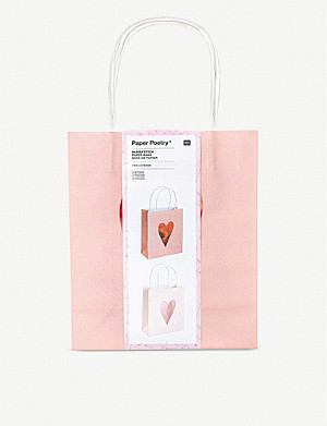 VALENTINES Paper Poetry metallic-heart gift bags set of two