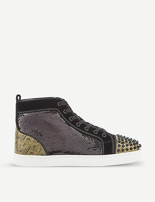 CHRISTIAN LOUBOUTIN Lou Spikes sequin, velvet and leather trainers