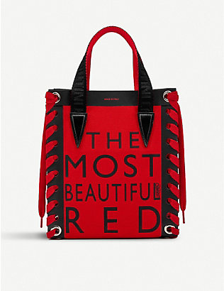 CHRISTIAN LOUBOUTIN: Cabalace mini canvas xian beautiful red