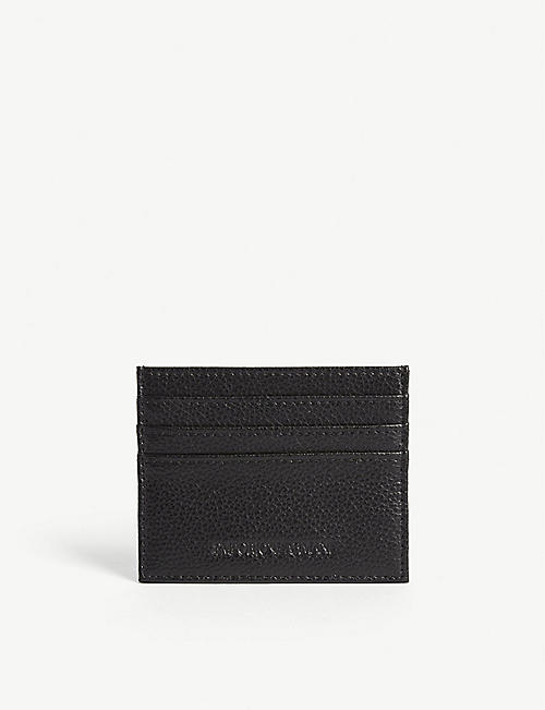 EMPORIO ARMANI: Grained leather cardholder
