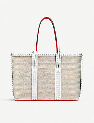 CHRISTIAN LOUBOUTIN: Cabata small rete fly/calf p/spikes