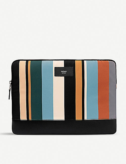 "WOUF: Tramonto stripe-print canvas 13"" laptop case"