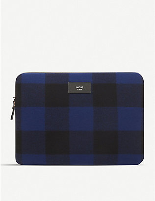 "WOUF: Jack check-print wool 13"" laptop case"