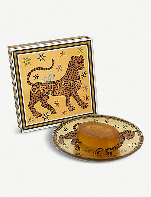 ORTIGIA SICILIA: Ambra Nera glass plate and soap