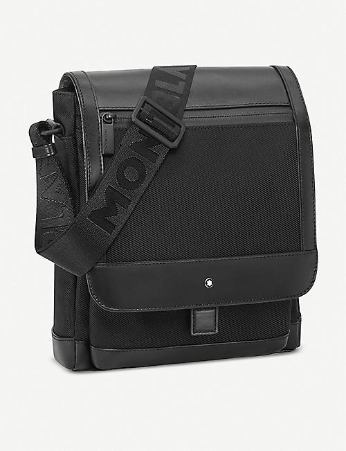 MONTBLANC: Nightflight leather and nylon reporter bag