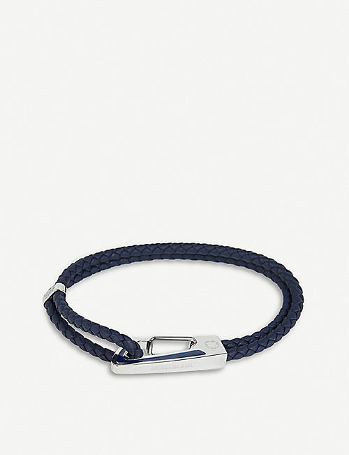 MONTBLANC: Braided-leather and stainless-steel bracelet