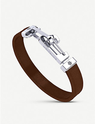 MONTBLANC: Wrap Me leather and stainless steel bracelet