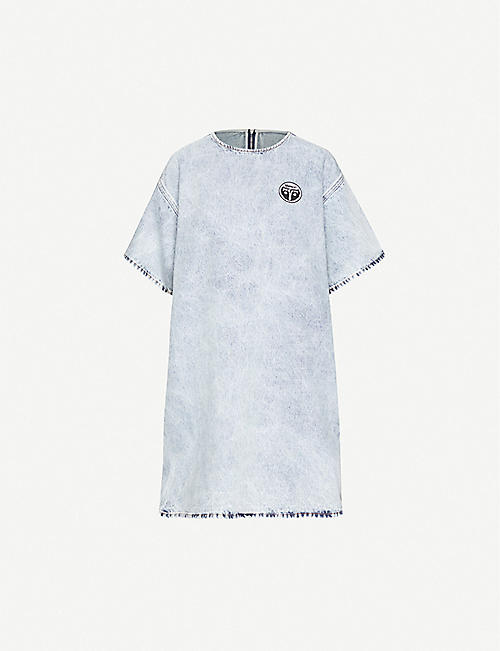 MM6 MAISON MARGIELA Logo-applique denim mini dress