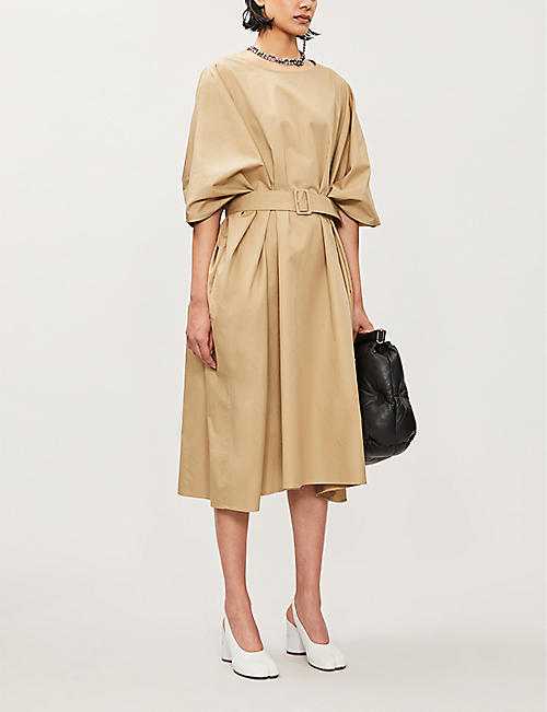MM6 MAISON MARGIELA Cape-sleeve cotton-poplin midi dress