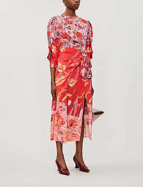 PETER PILOTTO Panelled printed silk midi dress