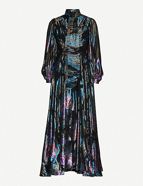 PETER PILOTTO Fireworks metallic floral-print lamé maxi dress