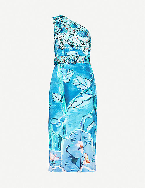 PETER PILOTTO One-shoulder belted floral-print stretch-silk midi dress