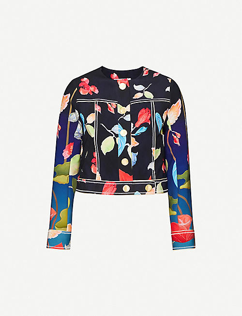 PETER PILOTTO: Cropped floral-print stretch-woven jacket