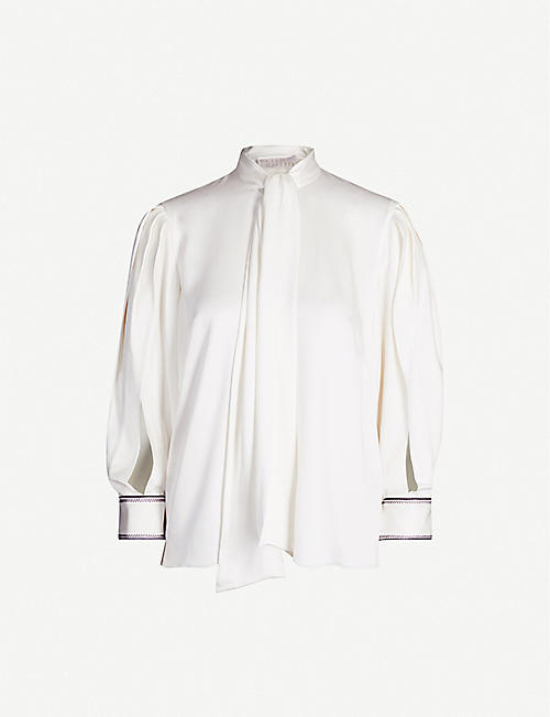 PETER PILOTTO: Scarf-neck satin-crepe shirt