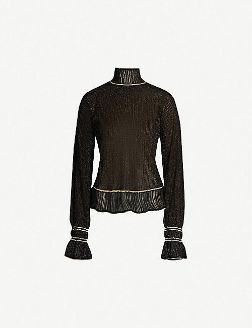 PETER PILOTTO Metallic high-neck stretch-jersey top