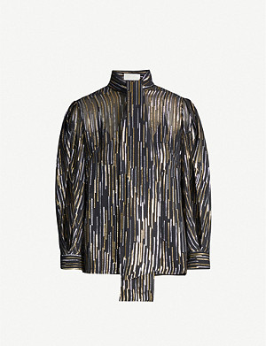 PETER PILOTTO Striped metallic-crepe top