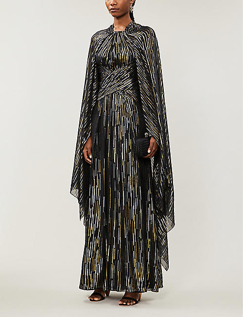PETER PILOTTO Cape-sleeved metallic crepe midi dress