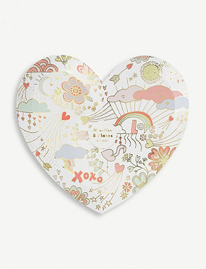 VALENTINES Valentine Doodle heart-shaped paper plates 21.6cm